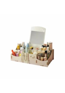 DIY Wooden Storage Box Organiser Cosmetic Stationery with Mirrow (White)