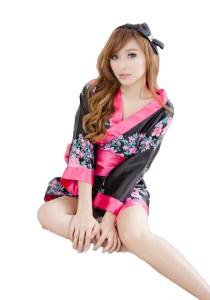 FASHION TEE 0883 Kimono Babydoll Lingerie Sleepwear Special Series (Black)