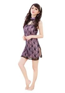 FASHION TEE 1042 Kimono Babydoll Lingerie Sleepwear (Purple)