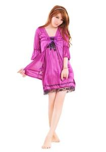 FASHION TEE 1094 Kimono Babydoll Lingerie Sleepwear (Purple)