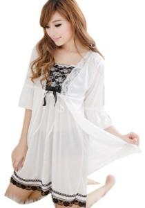FASHION TEE 1095 Kimono Babydoll Lingerie Sleepwear (White)