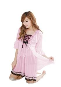 FASHION TEE 1096 Kimono Babydoll Lingerie Sleepwear (Pink)