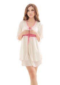 FASHION TEE 1147 Kimono Babydoll Lingerie Sleepwear (Pink/White)