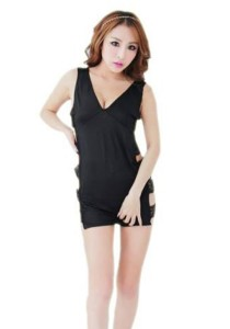 FASHION TEE 1198 Kimono Babydoll Lingerie Sleepwear (Black)