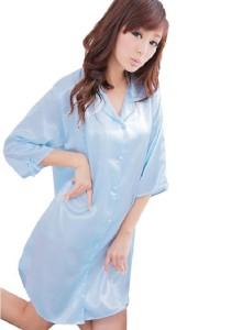FASHION TEE 12123 Kimono Babydoll Lingerie Sleepwear (Blue)