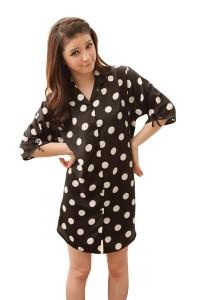 FASHION TEE 12126 Kimono Babydoll Lingerie Sleepwear (Black)