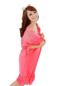 FASHION TEE 12721 Kimono Babydoll Lingerie Sleepwear 2 Pieces (Rose Red)