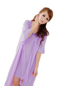 FASHION TEE 12722 Kimono Babydoll Lingerie Sleepwear 2 Pieces (Purple)