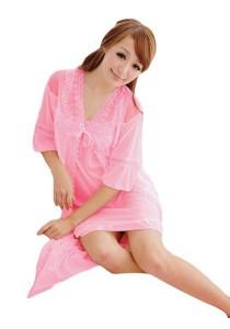 FASHION TEE 12723 Kimono Babydoll Lingerie Sleepwear (Pink)