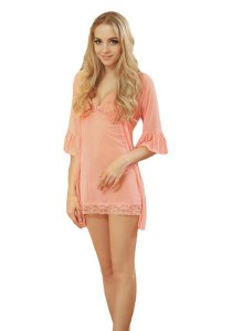 FASHION TEE 1497 Kimono Babydoll Lingerie Sleepwear (Pink)