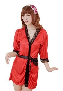 FASHION TEE 1717 Kimono Babydoll Lingerie Sleepwear (Wine Red)