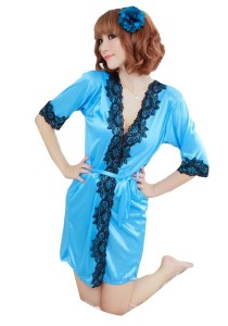 FASHION TEE 1821 Kimono Babydoll Lingerie Sleepwear (Blue/Black)
