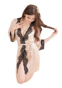 FASHION TEE 1823 Kimono Babydoll Lingerie Sleepwear (Skin Colour)