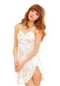FASHION TEE 2325 Kimono Babydoll Lingerie Sleepwear (White)