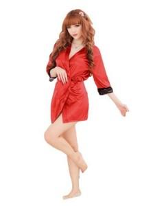 FASHION TEE 2827 Kimono Babydoll Lingerie Sleepwear (Red)
