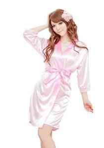 FASHION TEE 2830 Kimono Babydoll Lingerie Sleepwear (Pink)