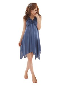 FASHION TEE 494 Kimono Babydoll Lingerie Sleepwear (Blue)