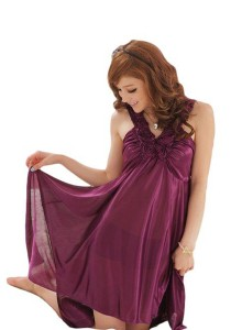 FASHION TEE 495 Kimono Babydoll Lingerie Sleepwear (Purple)