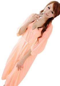 FASHION TEE 6672 Kimono Babydoll Lingerie Sleepwear (Orange)