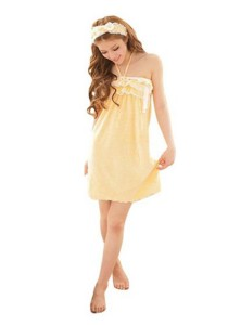 FASHION TEE 8000 Kimono Babydoll Lingerie Sleepwear Special Series (Yellow)