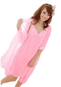 FASHION TEE 8089 Kimono Babydoll Lingerie Sleepwear (Pink)