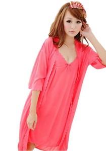 FASHION TEE 8092 Kimono Babydoll Lingerie Sleepwear (Pink)
