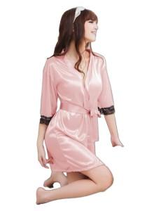 FASHION TEE 9636 Kimono Babydoll Lingerie Sleepwear (Beige)