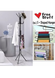 12Hook Hanging Steel Pole Rack for Clothes & Bags + FREE (1 pc.) Hanger