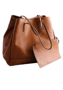 LinkedinLove Zara Style Tote Bag With Complimentary Mini Bag (Vintage Brown)