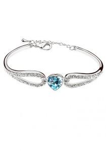 LinkedinLove Swarovski Sweet Girl Heart Bangle (Blue)