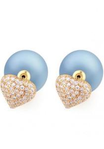 LinkedinLove Swarovski Stud Earrings Starry Heart (Blueberry)