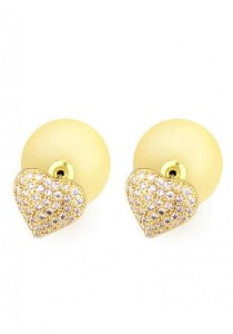 LinkedinLove Swarovski Stud Earrings Starry Heart (Yellow)