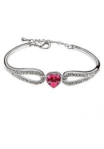 LinkedinLove Swarovski Sweet Girl Heart Bangle (Pink)