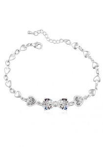 LinkedinLove Swarovski Princess Bow Bracelet (White)