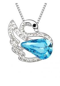 LinkedinLove Swarovski Swan Princess Pendant Necklace (Blue)