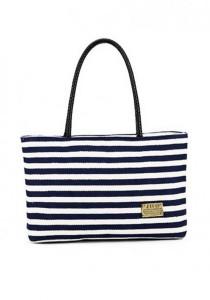 LinkedinLove Blue White Striped Women Tote Bag