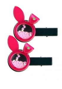 LinkedinLove Twinkle Rabbit Girls Hair Clip Set (Hot Pink)