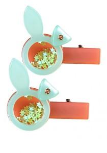 LinkedinLove Twinkle Rabbit Girls Hair Clip (Turquoise) Set of 2 pcs