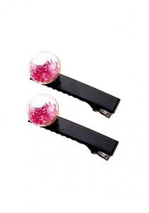 LinkedinLove Mini Glitter Ball Girls Hair Clip Set (Pink)
