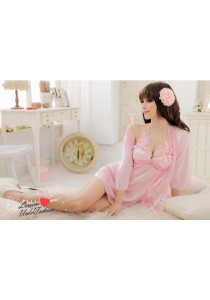 Loveena 3-pieces Ice Silk Robe Sexy Lingerie Nightwear L1042