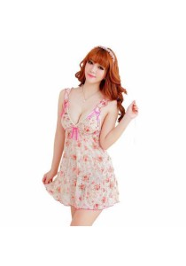 Loveena Feminine Tiny Flower Sexy Lingerie Nightwear Dress L2024