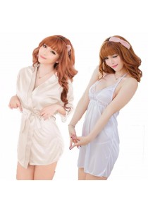 Combo Set Loveena Robe + Lingerie Dress L3038-WL3101-W - White