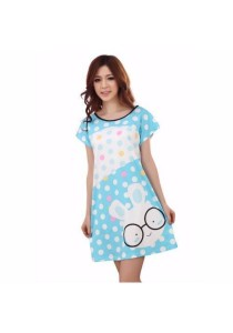 Loveena Milky Silk Glassess Rabbit Cartoon Nightwear P0103