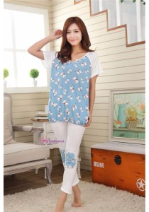 Loveena Milky Silk Blue Cow Pyjamas Pants Sleepwear P0213