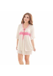 Loveena Satin Comfy 2-pieces Pyjamas Sleepwear Dress with Robe P0323
