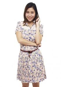 LadiesRoom Korean Printed Rose Pleated Flare Dress (Blue)