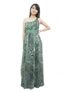 LadiesRoom One Side Off Shoulder Printed Flare Evening Gown (Green)