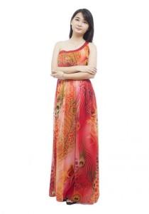 LadiesRoom One Side Off Shoulder Printed Flare Evening Gown (Orange)