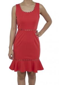 LadiesRoom Zig Zag Neckline Fitted Dress (Orange)