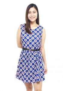 LadiesRoom Flower Print Flare Dress (Blue) S/M
